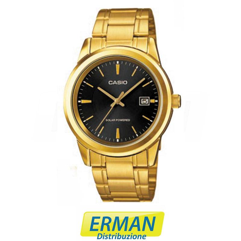 nuovo prodotto e2825 45d09 Orologio casio uomo originale mtp-vs01g-1 solare cassa-cinturino in oro con  data