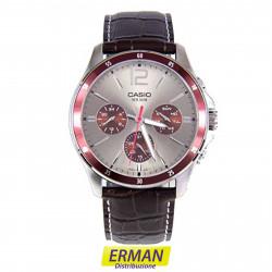 Orologio da polso Casio mtp-1374l-7a1 da uomo cinturino in pelle cronografo