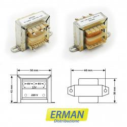 Trasformatore lamellare con ingresso 220V - uscita 6V+6V (o 12V) - 500mAh