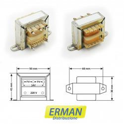 Trasformatore lamellare con ingresso 220V - uscita 7V + 7V (o 14V) - 500mAh