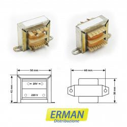 Trasformatore lamellare con ingresso 220V - uscita 20V - 500mAh