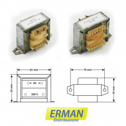 Trasformatore lamellare con ingresso 220V - uscita 6V - 1,5A