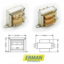 Trasformatore lamellare con ingresso 220V - uscita 7,5 + 7,5V (o 15V) - 1,5A