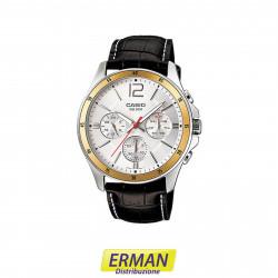 Orologio da polso casio mtp-1374l-7 cinturino in pelle cronografo